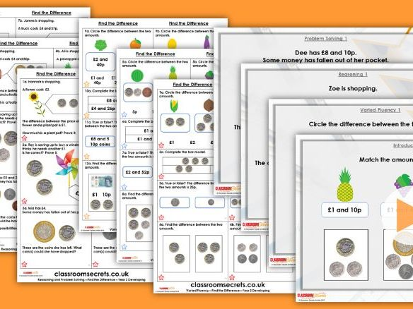 Year 2 Find the Difference Autumn Block 3 Step 8 Maths Lesson Pack