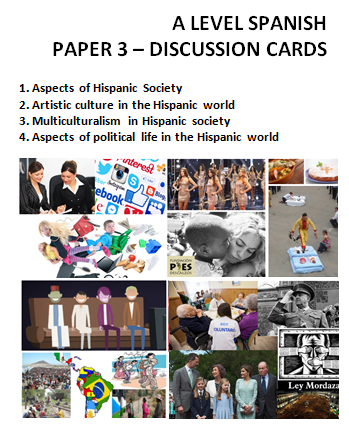 New Spanish A Level: Paper 3 (Speaking). Discussion cards.