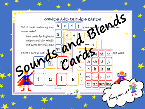 Sounds and blends cards - Phonics Screen Preparation Aid