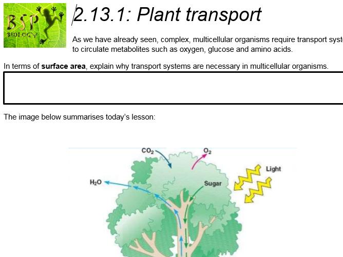 AQA GCSE Biology: Trilogy. Lesson 25 Plant transport