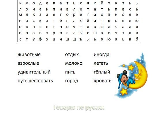 Russian Word Search Topic Night