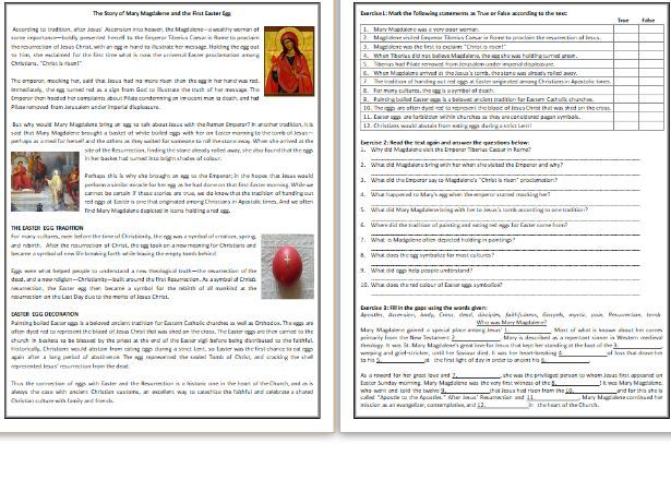 The Story of Mary Magdalene and the First Easter Egg - Reading Comprehension Worksheet / Text