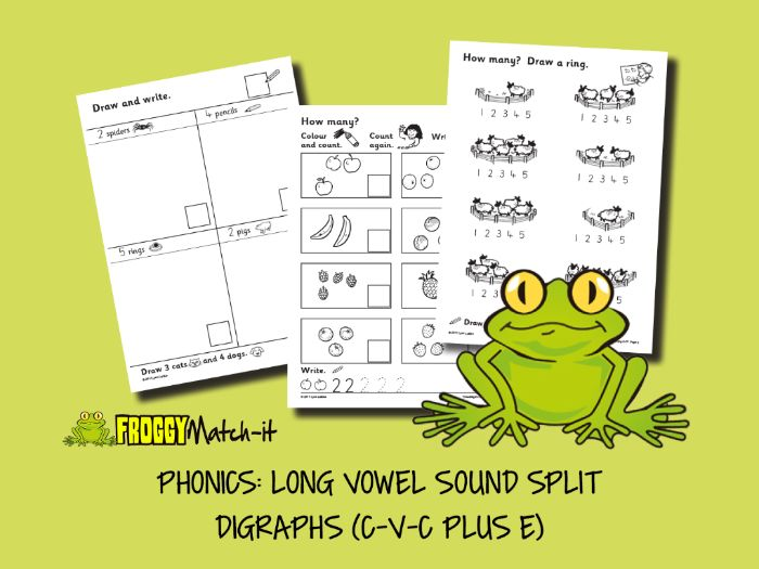 PHONICS: LONG VOWEL SOUND SPLIT DIGRAPHS (C-V-C PLUS E)