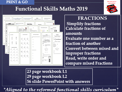 Reformed functional skills maths fractions 2 workbooks and PowerPoint with answers