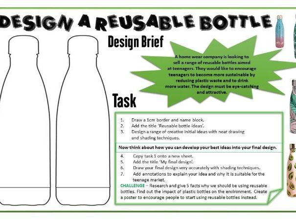 Design a re-usable bottle task sheet. Excellent design cover work!