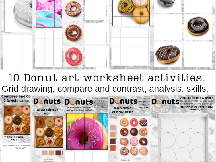 Donuts art activity worksheets, home learning, cover, analysis.