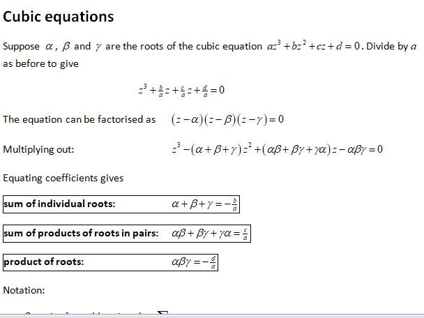 Edexcel Further Core Pure AS Topic 2: Further Algebra