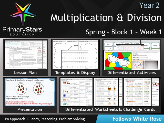 YEAR 2 - Multiplication- White Rose - WEEK 1 - Block 1 - Spring- Differentiated Planning & Resources
