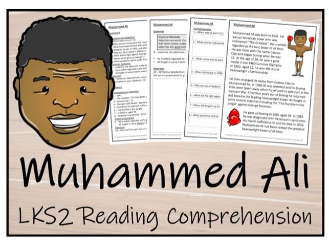 LKS2 Literacy - Muhammed Ali Reading Comprehension Activity