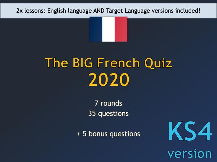 The BIG French Quiz 2020 (KS4/GCSE version)
