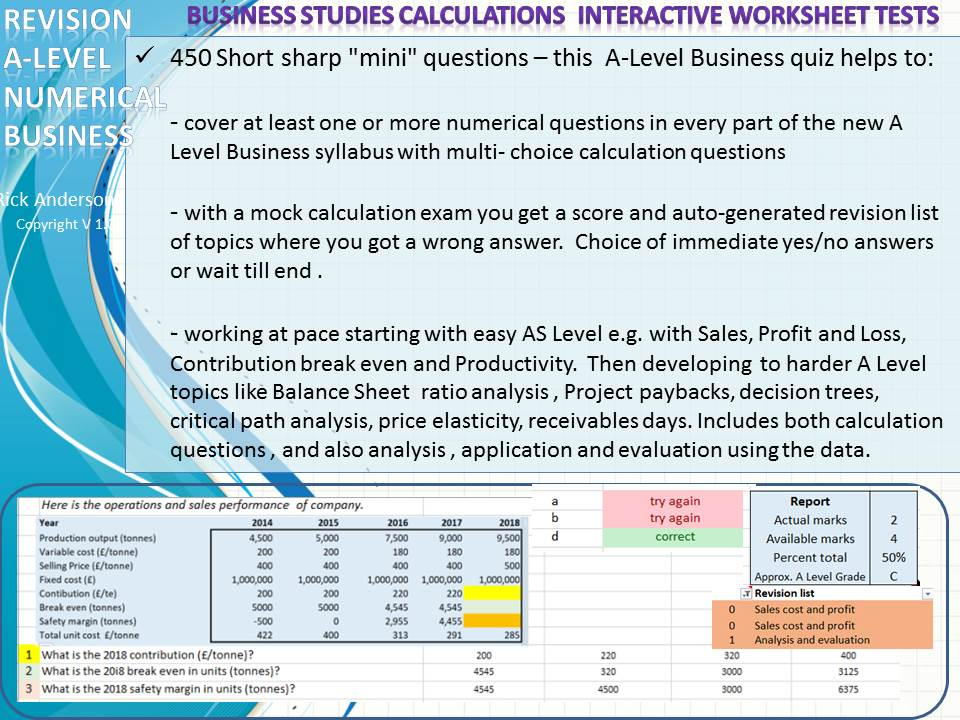 A Level Business 450 numerical questions