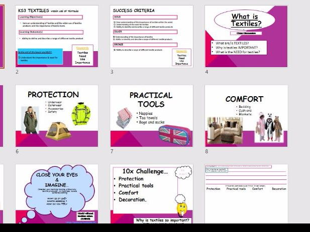 The Need & Importance of Textiles - Wider Use - Year 7 - Introduction Lesson & Worksheet - KS3