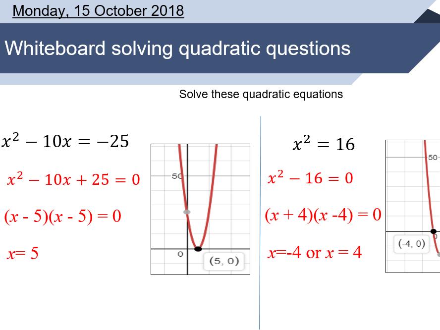 Solving quadratic equations (Factorizing) lesson