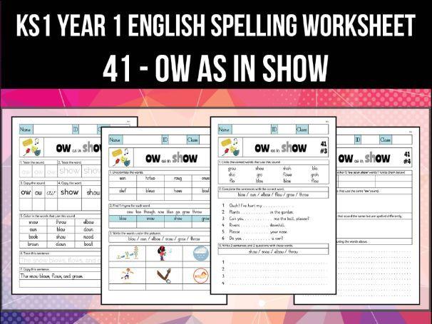 Spelling & Phonics Worksheet - əʊ sound spelled OW