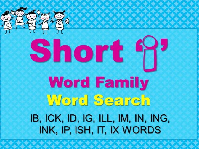 Short I Word Family Word Search Short Vowels