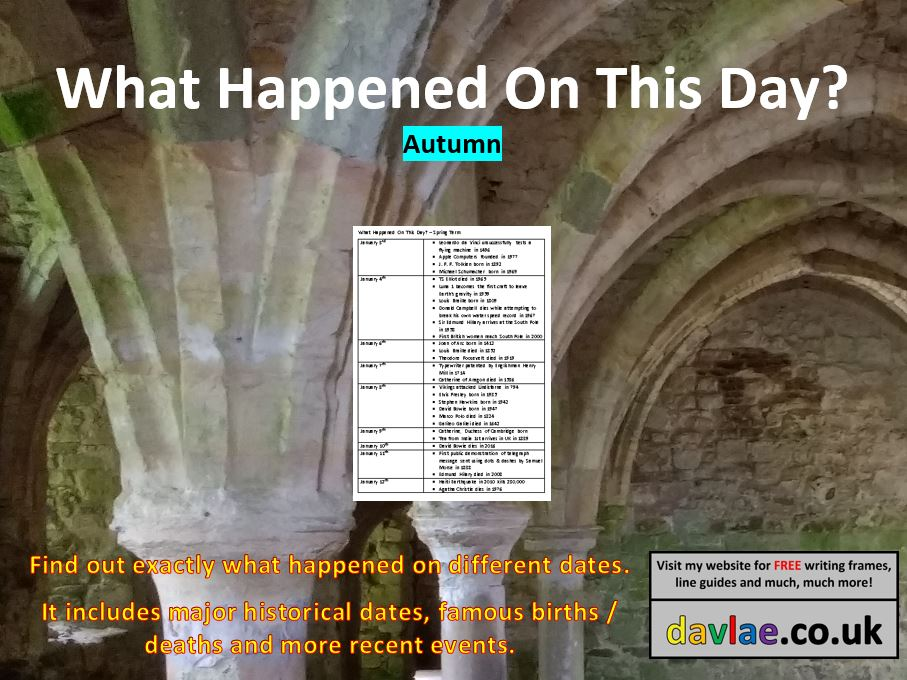 What Happened On This Day? - Autumn Term - Assembly / Lesson Ideas