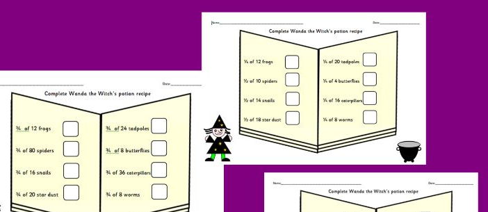 Fractions help Wanda the Witch fraction problems halving and quartering
