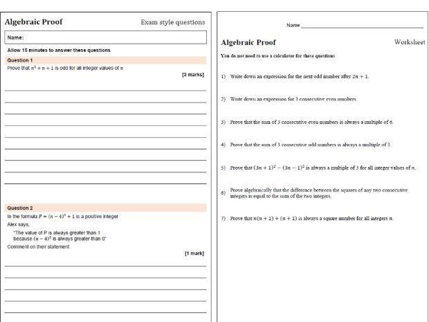Algebraic proof worksheets exam practice