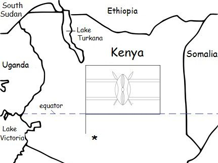 KENYA - Printable handout with map and flag