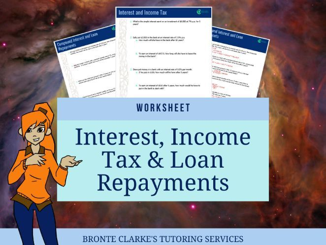 Simple Interest, Compound Interest & Tax Worksheet with Answers
