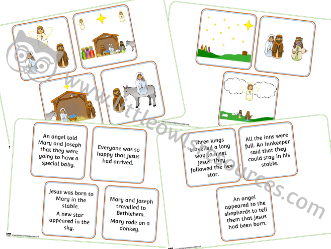 Christmas / Nativity Story Cut & Sequence Cards - EDITABLE