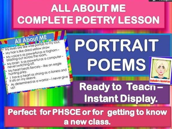 ALL ABOUT ME  -  PORTRAIT POETRY - COMPLETE LESSON FOR A NEW CLASS