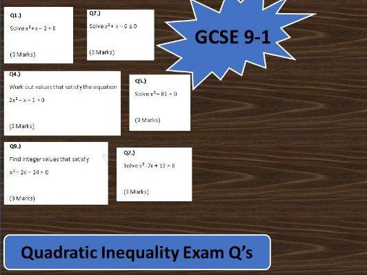 GCSE Maths 9-1 Exam Questions on Quadratic Inequalities