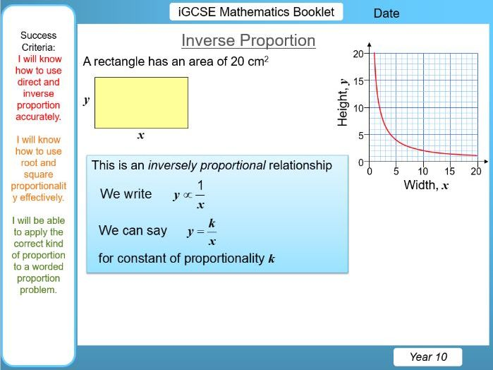 iGCSE Booklet - Direct, Inverse, Square, Root Proportion