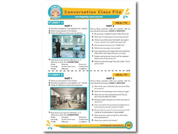 Health - ESL Conversation Activity