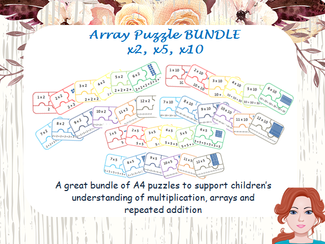 Array puzzles and repeated addition x2, x5, x10