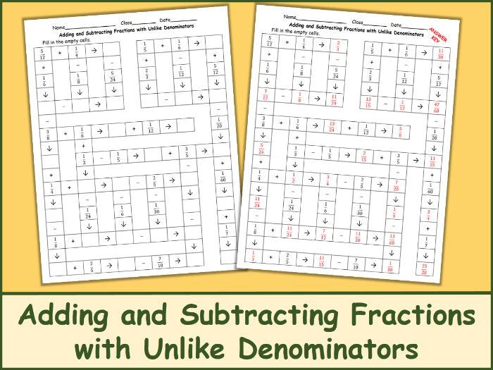 Adding and Subtracting Fractions with Unlike Denominators Crossword Puzzle