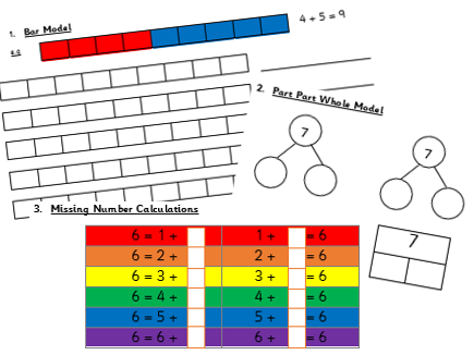 NUMBER BONDS TO- 5, 6, 7, 8, 9 and 10- Pictorial and Abstract Representations
