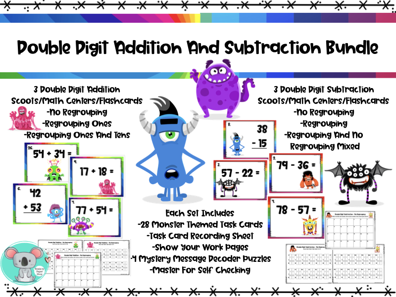 Double Digit Addition And Double Digit Subtraction BUNDLE - Scoot/Math Centers/Flashcards