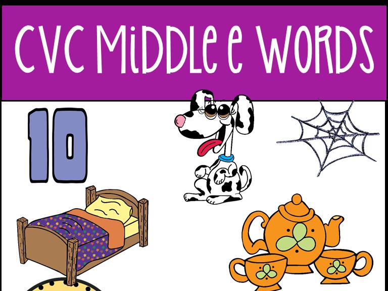 CVC Middle E Words Clip Art