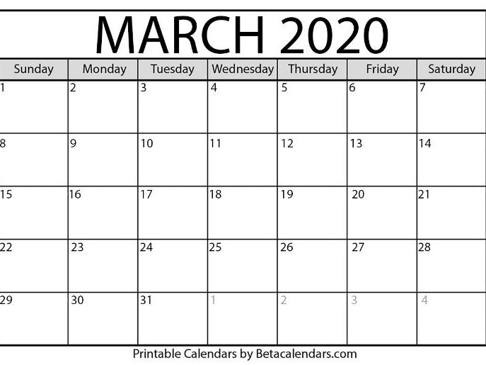 March Printable Calendar 2020.Blank March 2020 Calendar Printable By Betacalendars