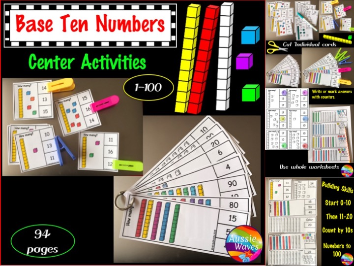 Base Ten Activities for Numbers 0-100 Printable Kinder and Grade 1 Maths Centres