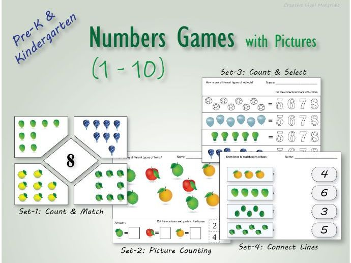 Numbers games for kindergarten practice with pictures