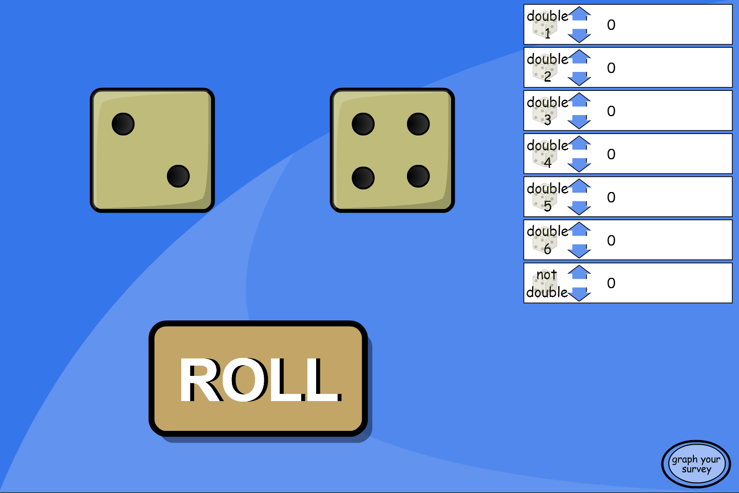 Doubles Dice Roll Experiment - Interactive Activity - KS2 Number