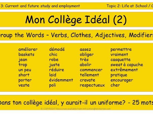 GCSE Vocabulary and Sentence Level Tasks THEME 3 TOPICS 1 & 2