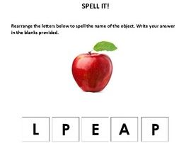 Unscramble Spelling Activities (for special ed., preschool, and kindergarten)