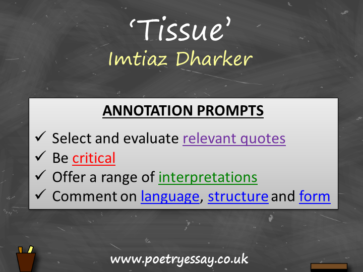 Imtiaz Dharker – 'Tissue' – Annotation / Planning Table / Questions / Booklet