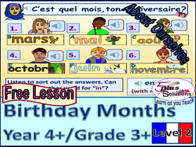 FREE PRIMARY FRENCH LESSON YEAR 4+/GRADE 3+: MONTHS & BIRTHDAYS