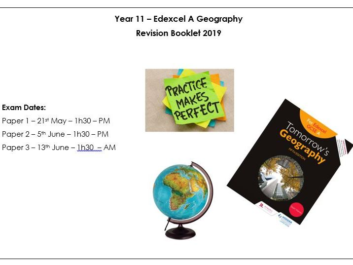Edexcel A GCSE Geography Revision booklet