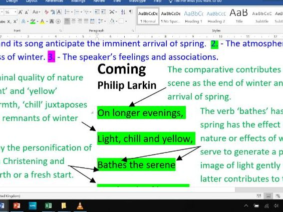 Coming - Fully Annotated Poem CIE