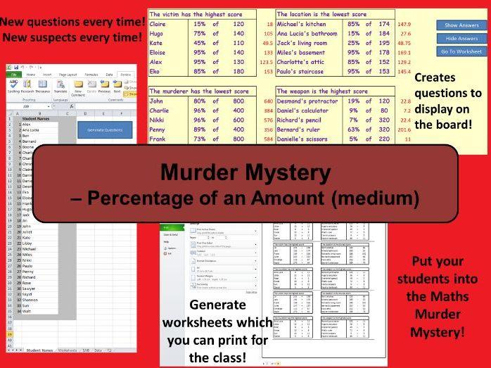 Custom Reusable Murder Mystery - Percentage of an Amount (Medium)