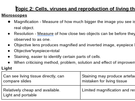 Edexcel AS Biology Topic 2 Cells, Viruses and Reproduction of Living Things