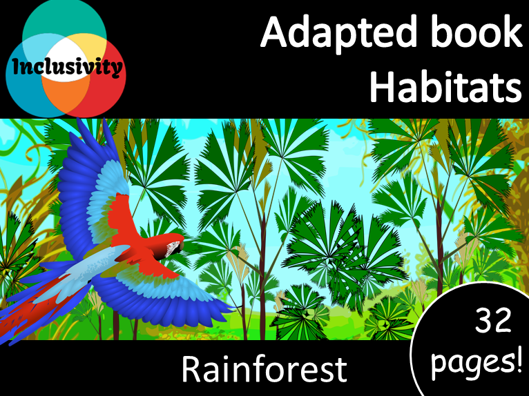 Adapted book habitat Rainforest Levels 1, 2 and 3; matching activity and animal sort