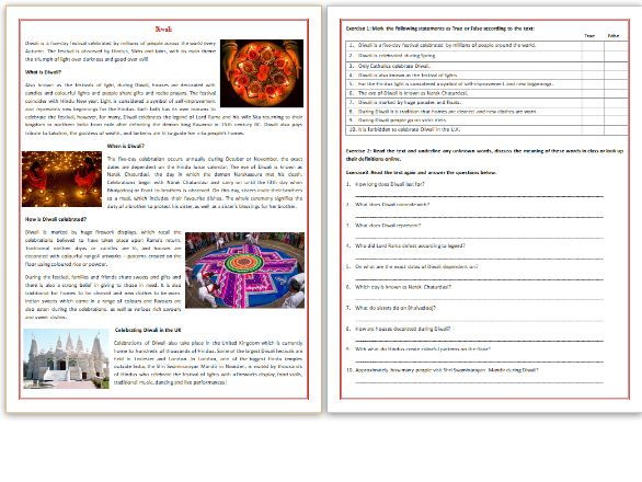 Diwali - Reading Comprehension Worksheet