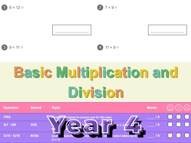 Basic Multiplication and Division Worksheet + Answers (KS2 - Year 4)