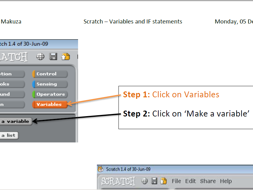 Introduction to Scratch - Variables and IF statements